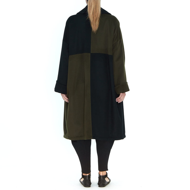 Wool Cashmere Coat Khaki Black