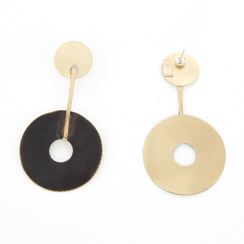 KT-5 Black gold pendant earrings