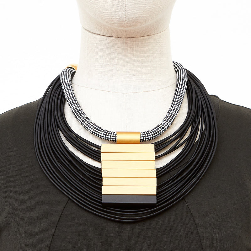 CB158 stack aluminium cord necklace black and gold