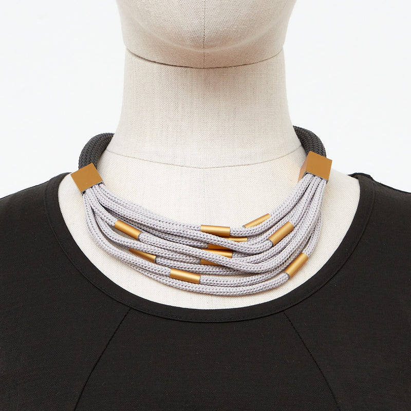 CB138-Taupe gold mix Necklace