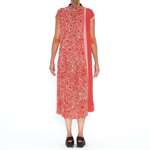 Red Chrysanthemum Pleated Panel Dress