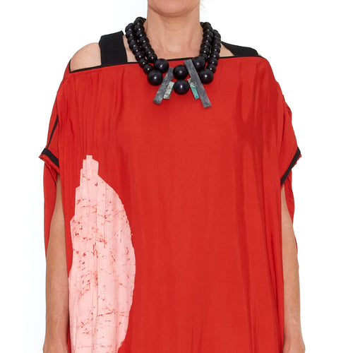 Red Moon Pleated Strap Kaftan
