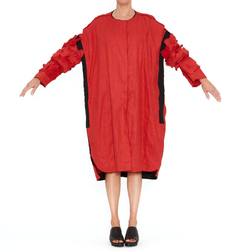 Red Oversize Coat with Sleeve Applique