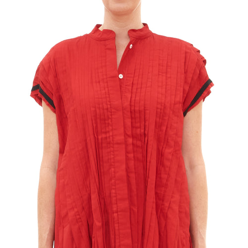 Red Pleated Sleeveless Tunic Blouse