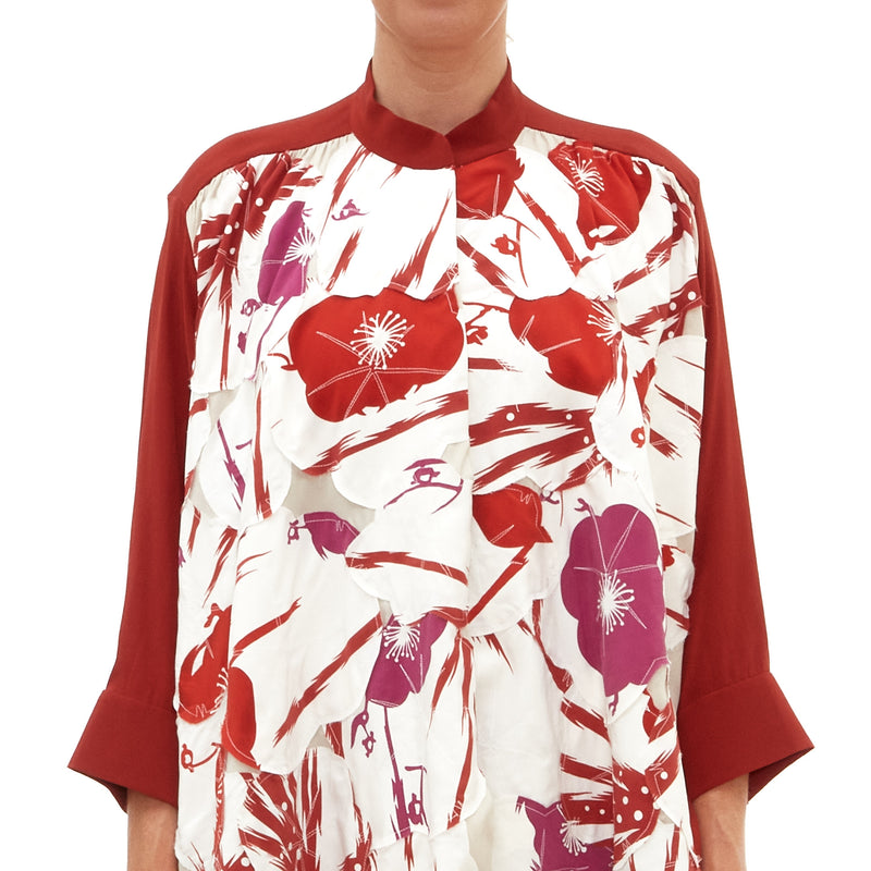 Pink Red Chrysanthemum Blossom Blouse