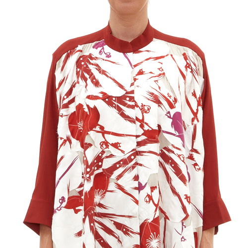 Pink Red Chrysanthemum Blossom Long Blouse