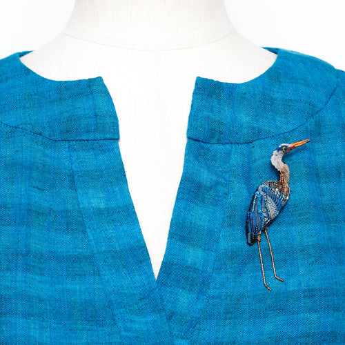 Blue Heron Brooch