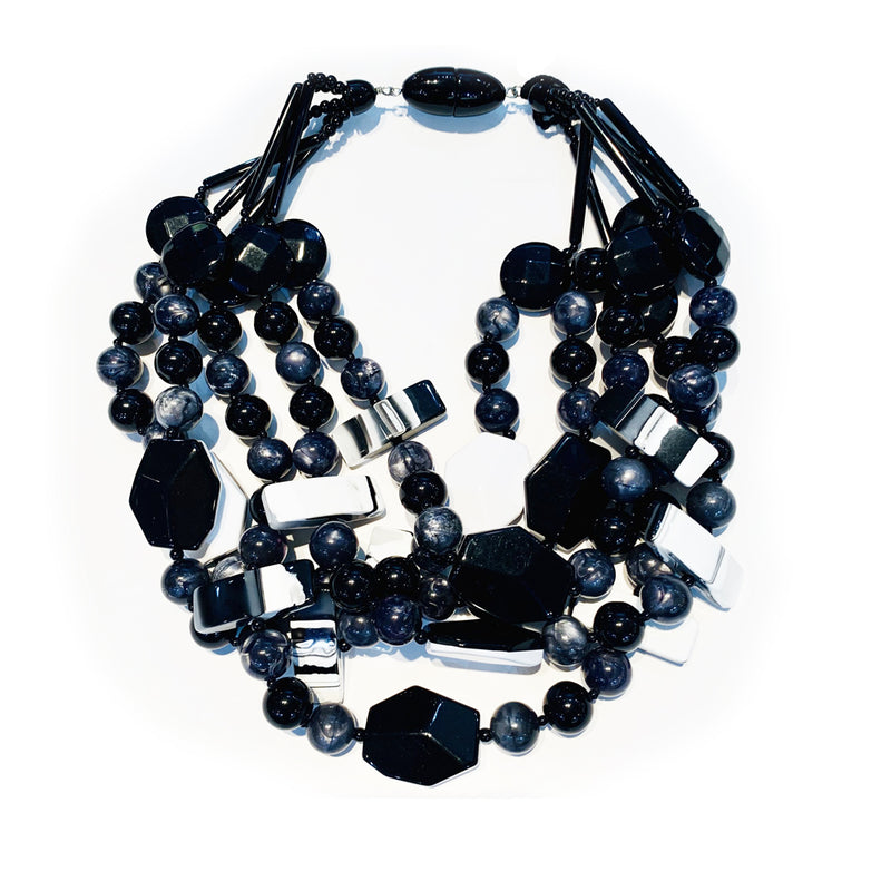 angela caputi Black Triple Strand Necklace AC-9992