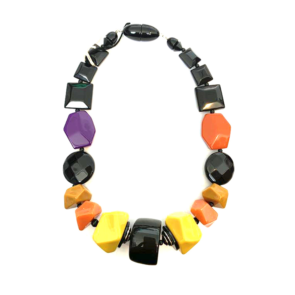 angela caputi Black Mustard + Orange Beaded Necklace AC-10006