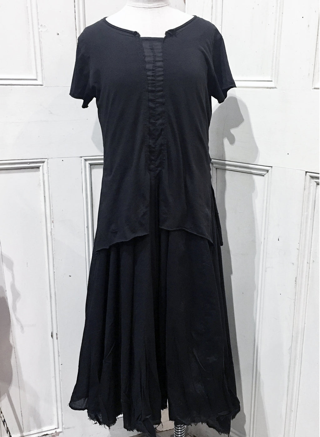 Rundholz Black Crushed Cotton Pleat Dress 3600907