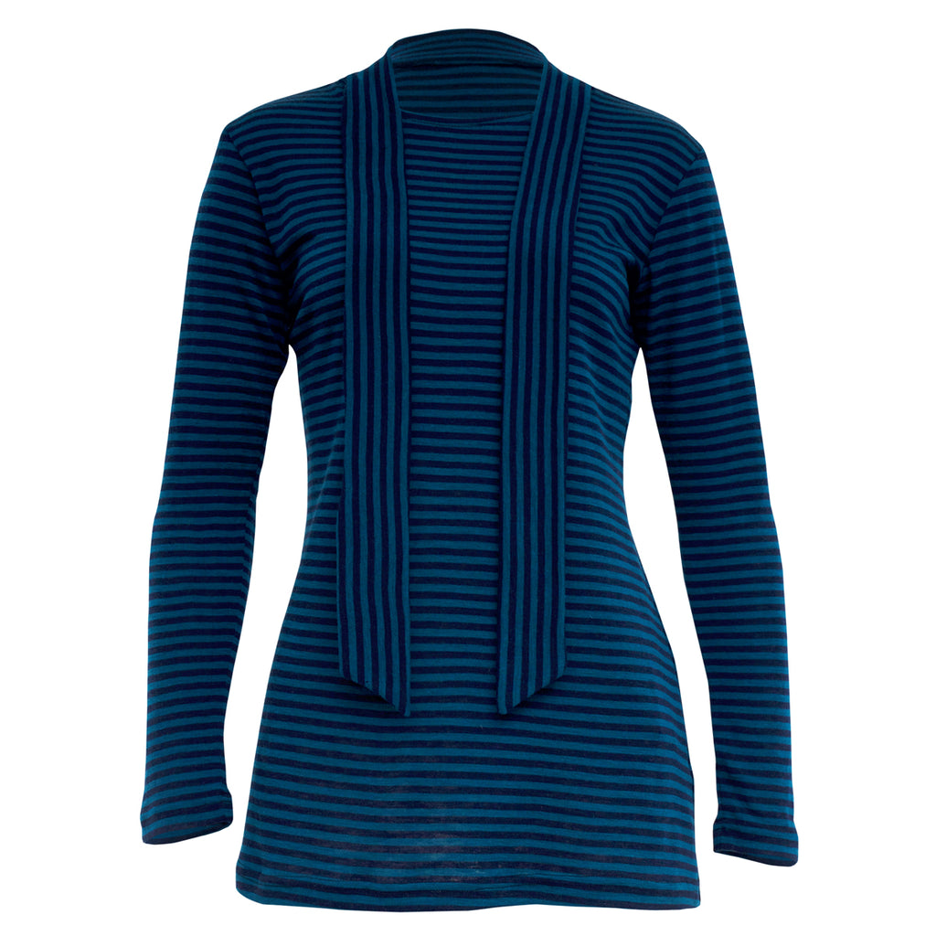 Tiffany Treloar, Teal & Blue Striped Wool Top - Tiffany Treloar