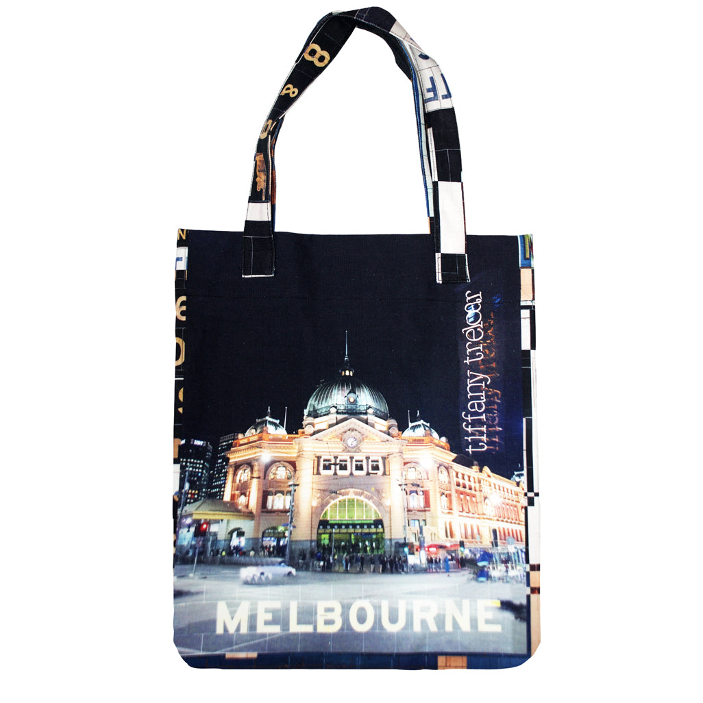 Tiffany Treloar Printed Canvas Bag Flinders St Station Front
