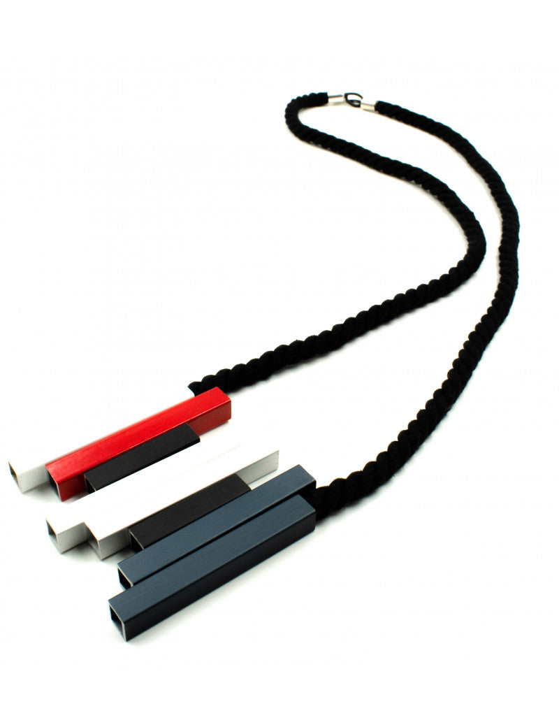 CB270 Grey Red Mix Aluminium Steps Necklace