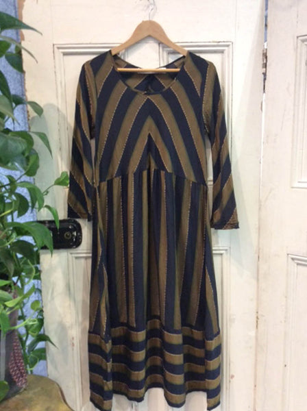 Stripe Cupro Paris Dress Brass Navy