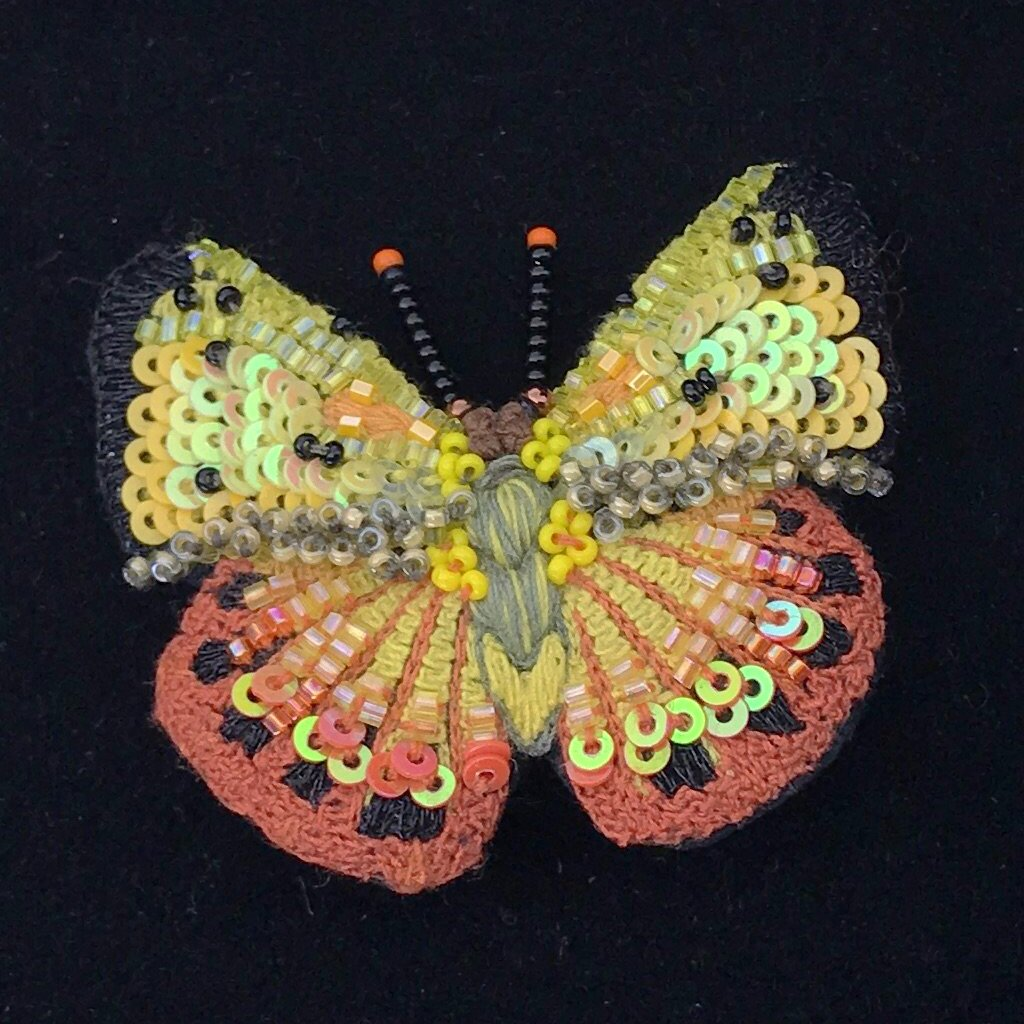 Orange Sulphur Butterfly Brooch