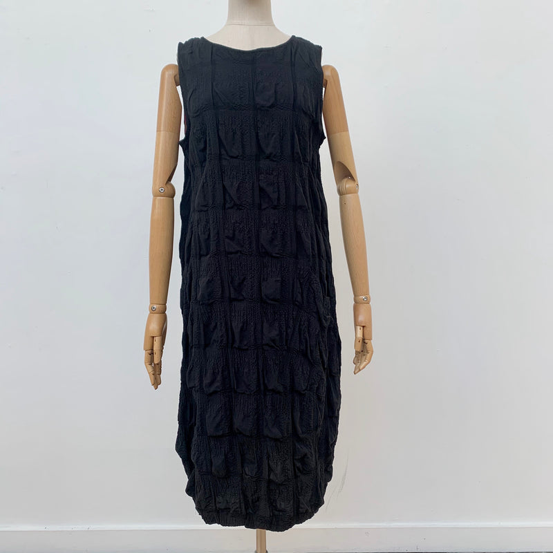 Cotton Seersucker Dress Black