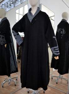 Moyuru Black/Grey Wool Coat  Art Number 183303