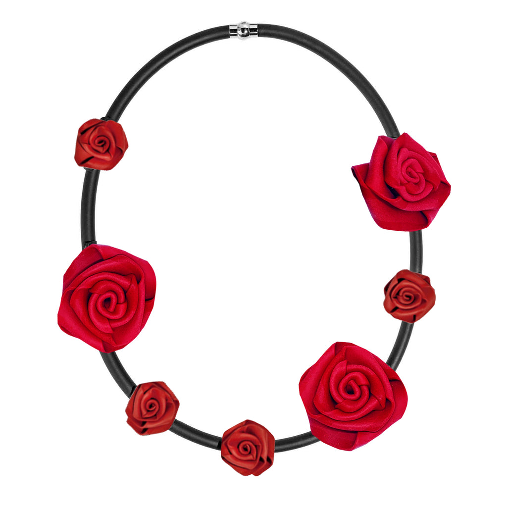 Neo 436 Red/Black Rose Necklace