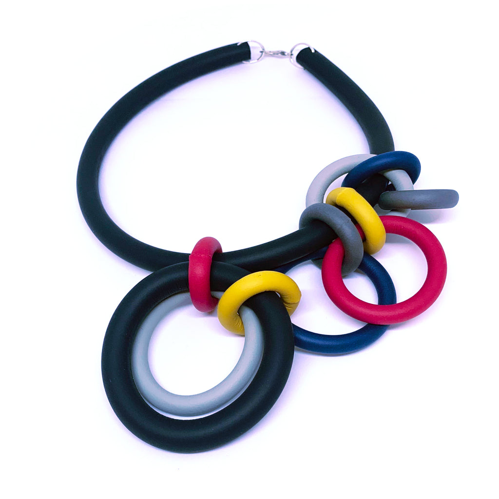 NEO473 Olympic Dark Multicolour Necklace