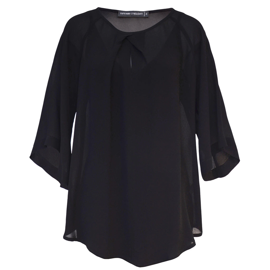 Tiffany Treloar Origami Neck Top Black Front