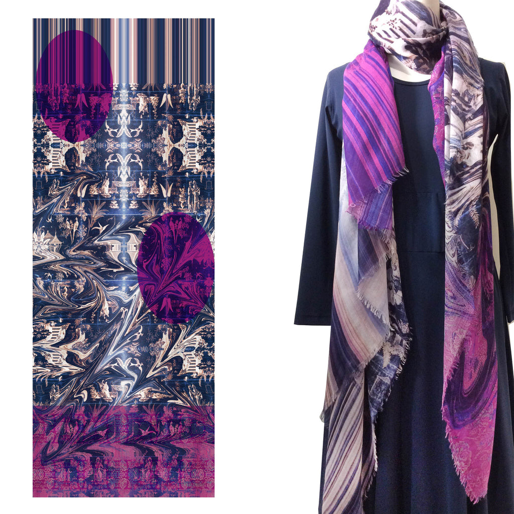 Long Print Modal Scarf Peking