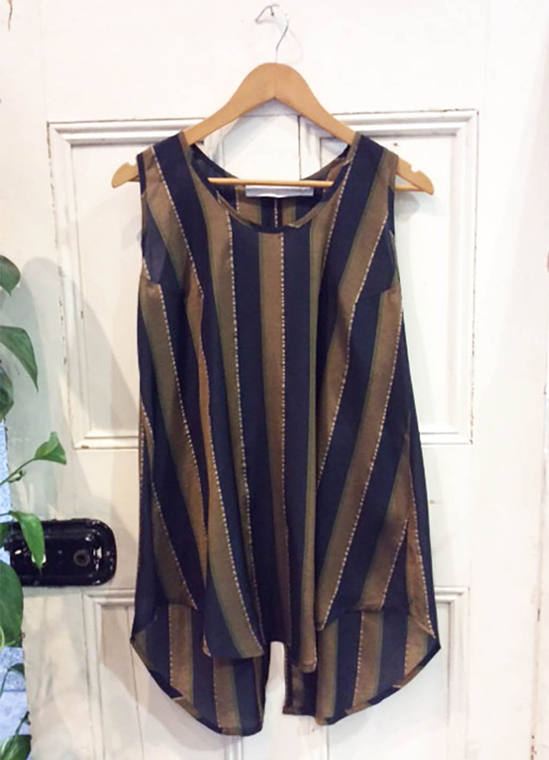 Striped Tank Brass Navy