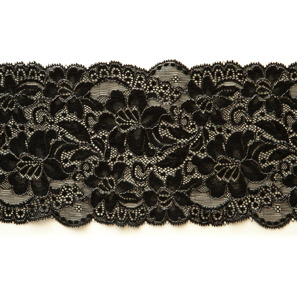 "5 1/2"" Wide Stretch Lace (143) - Black with Metallic Silver"