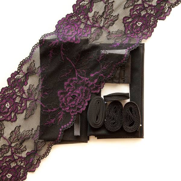 Lace #131 & midnight sheer cup lining bra kit