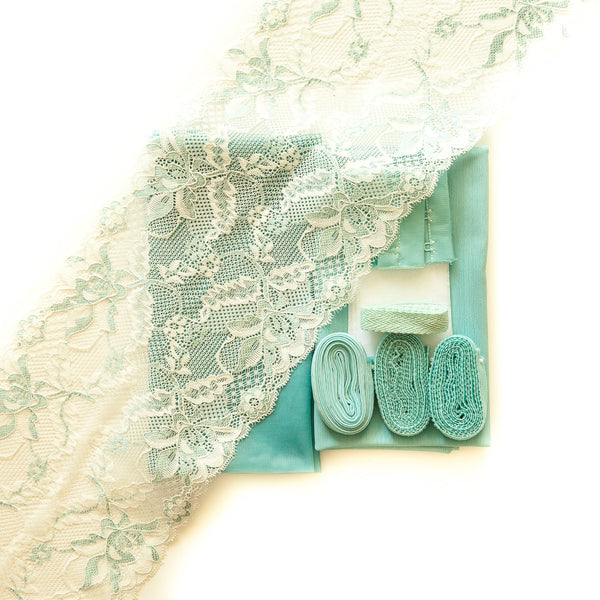 Lace #135 & seafoam sheer cup lining bra kit