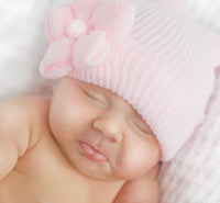 The Ruby Soild Pink Flower Newborn Hospital Hat