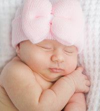 The Lila Soild Pink Bow Newborn Hospital Hat