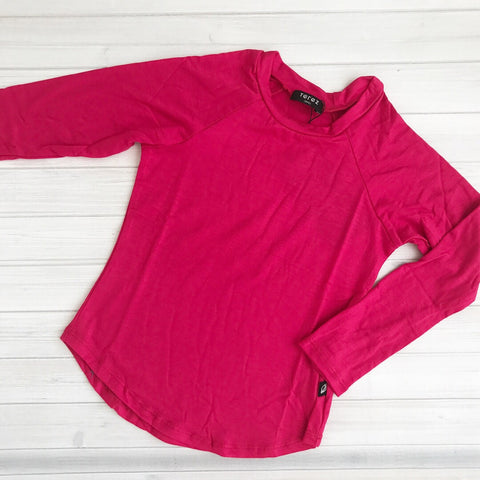 Terez Hot Pink Long Sleeve Baseball Tee