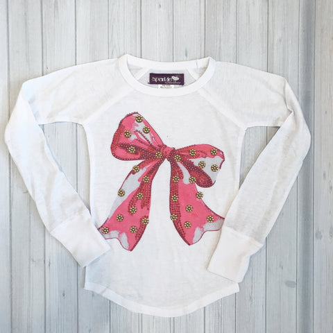 Sparkle by Stoopher Pink Bow Long Sleeve Burnout