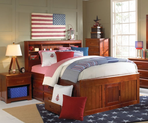 2821 FULL Bookcase Headboard Captain Bed w/Trundle + 3 Drawers