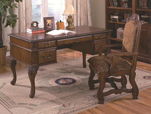 Neo Renaissance Traditional Writing Desk - 4 Drawers, Walnut
