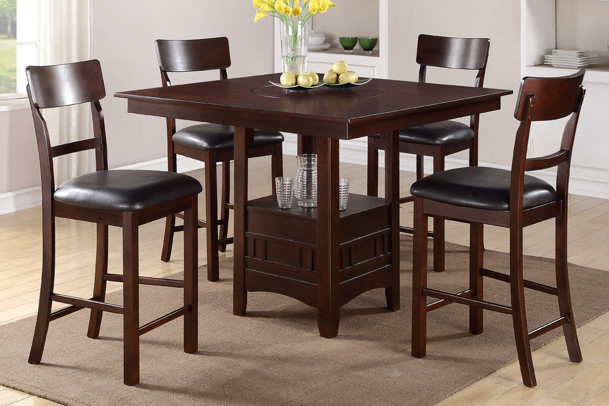 5 Piece Counter Height Dining Set w Builtin Lazy Susan Mindys
