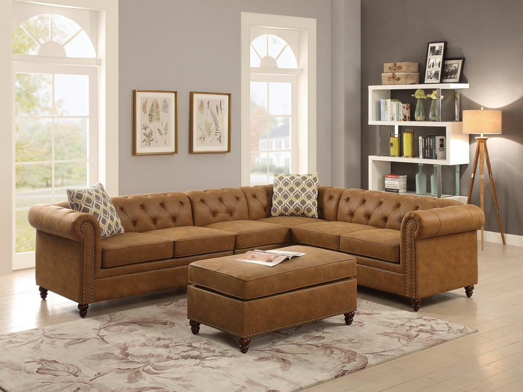 Sheffield Camel Finish Breathable Leatherette 4-PCs Modular Sectional Sofa