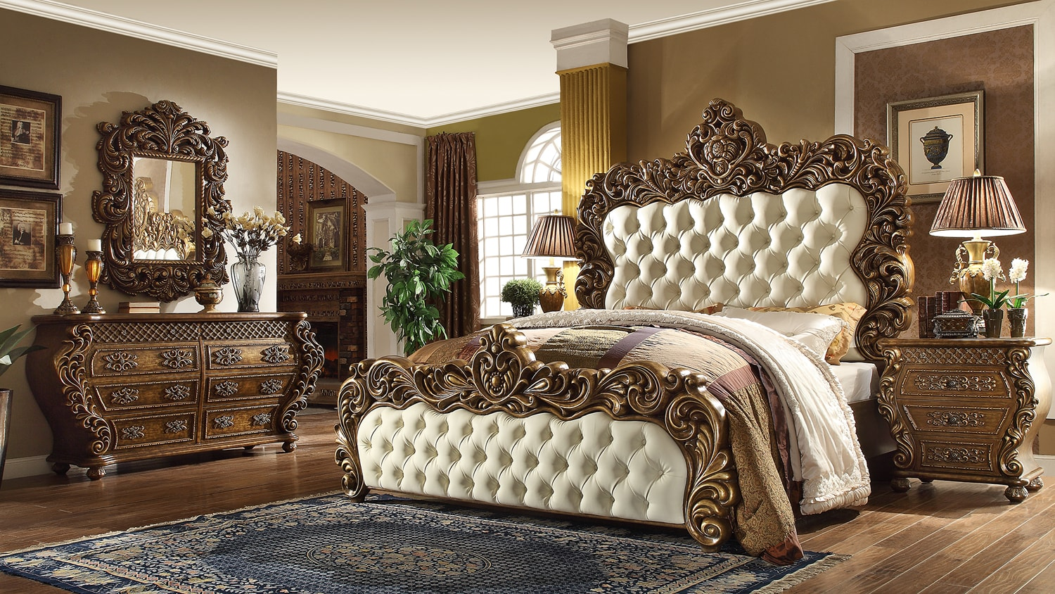 4 Piece Traditional Hd 8011 Bedroom Set King Size Only Mindys Home Goods