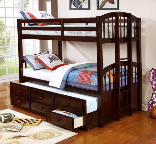 Twin over Twin Bunk Bed with TWIN TRUNDLE AND DRAWERS