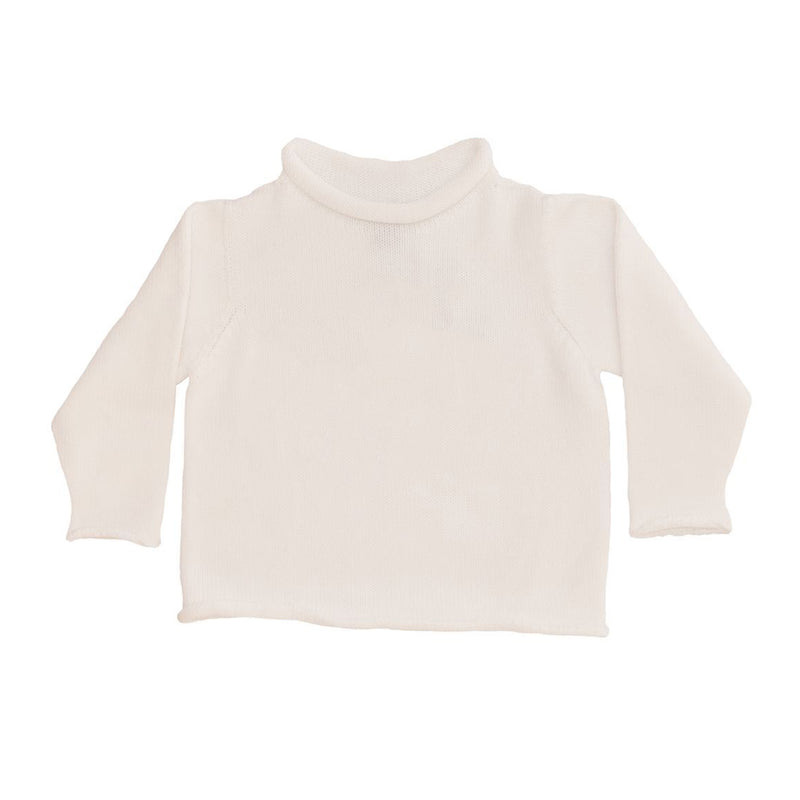 White Cotton Rollneck Sweater - All She Wrote