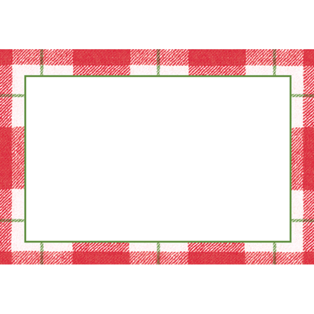 Red Plaid Check Place Card - All She Wrote