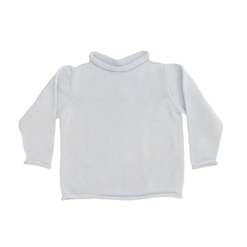 Light Blue Cotton Rollneck Sweater - All She Wrote