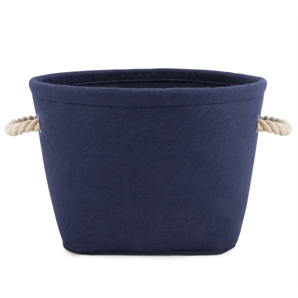 Navy Felt Dog Toy Bin - All She Wrote