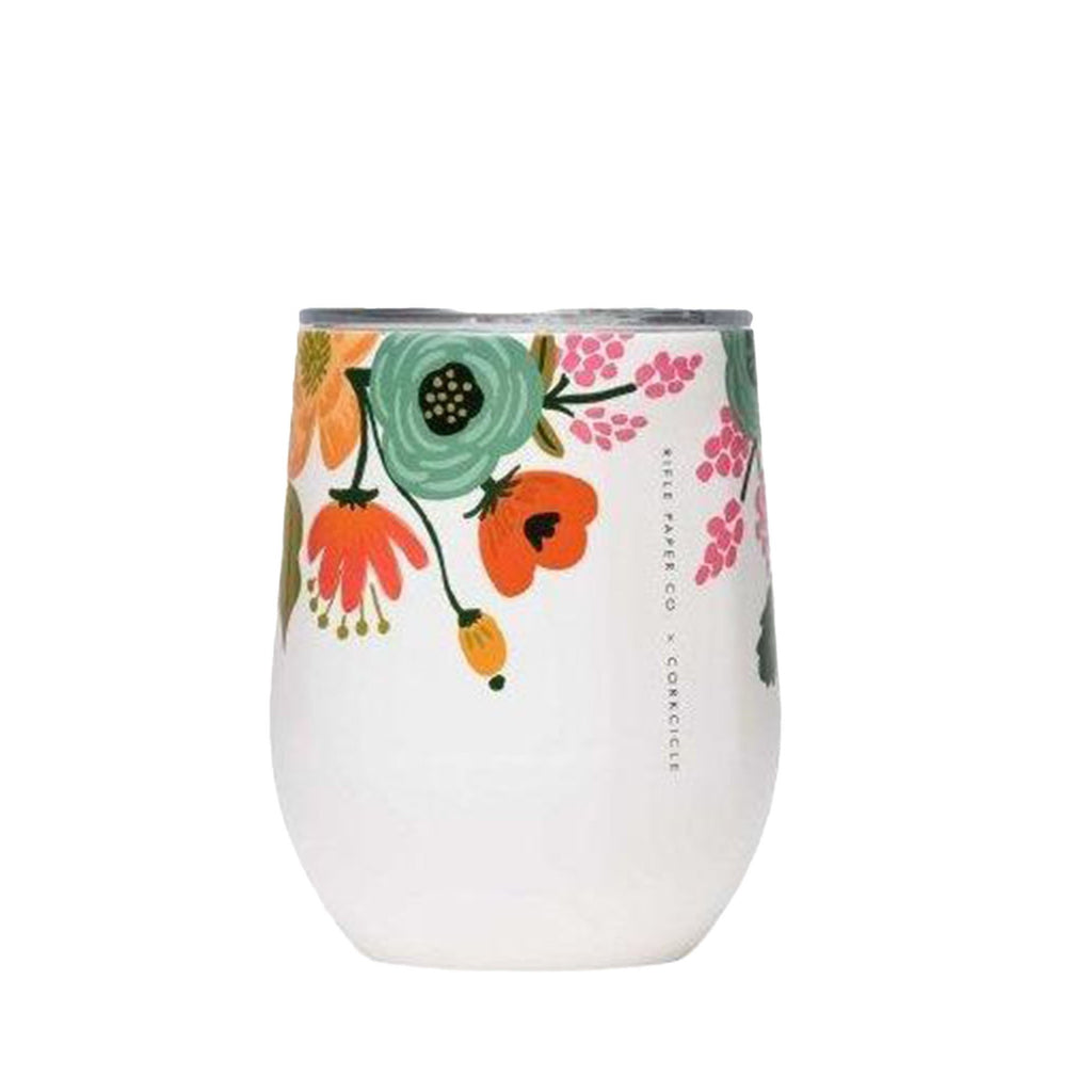 White Floral Stemless Wine Cup - All She Wrote