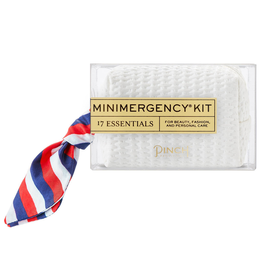 White Basketweave Minimergency Kit - All She Wrote