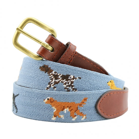 Smathers & Branson Needlepoint Belt- Dogs on Point