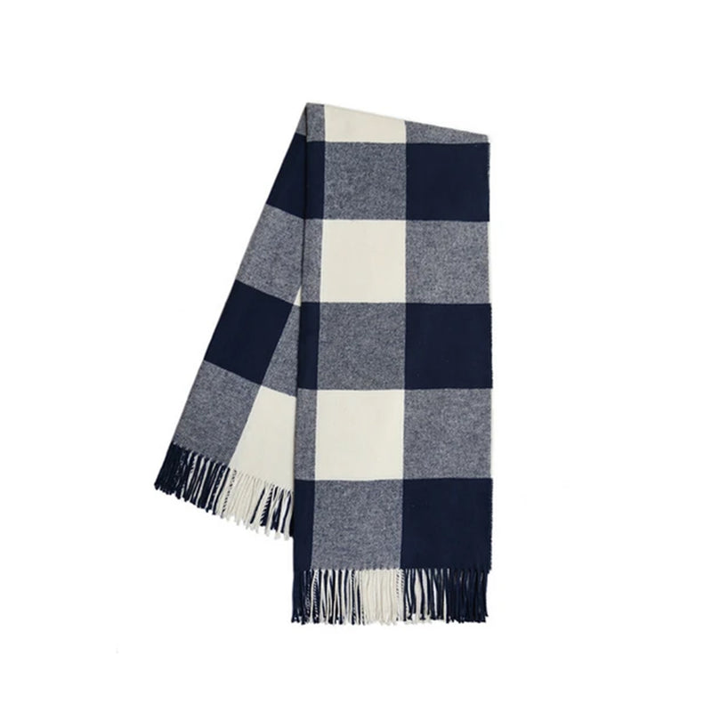 Navy Italian Buffalo Check Throw - All She Wrote