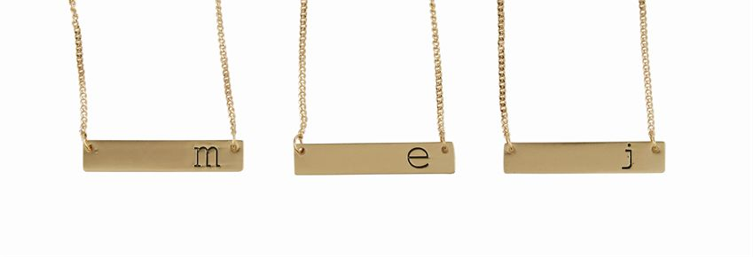 Initial Bar Necklace - All She Wrote