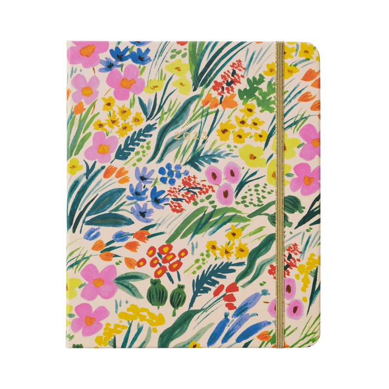 Navy Wild Rose Stemless Wine Cup