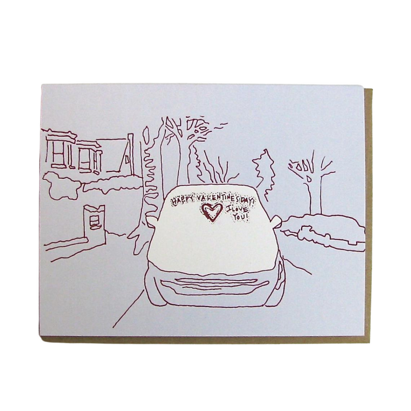 Snow Covered Car Valentine Card